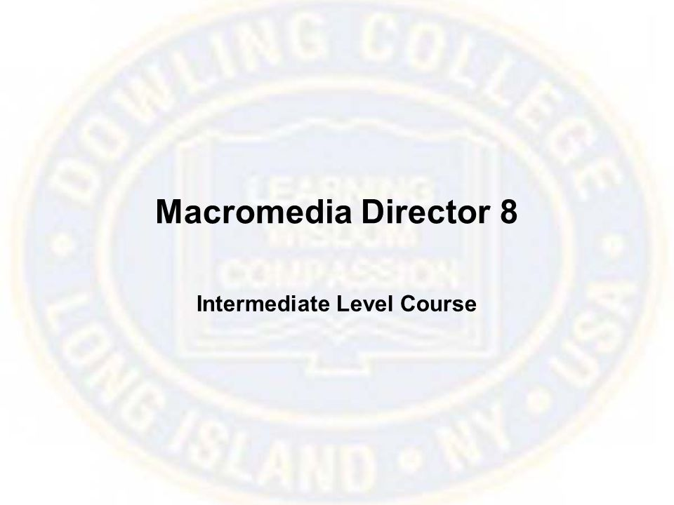 Macromedia Director 8 Intermediate Level Course