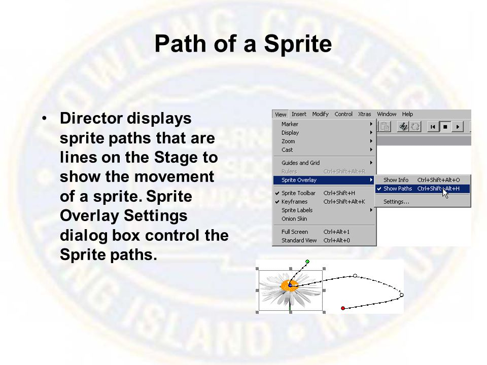 Path of a Sprite Director displays sprite paths that are lines on the Stage to show the movement of a sprite.