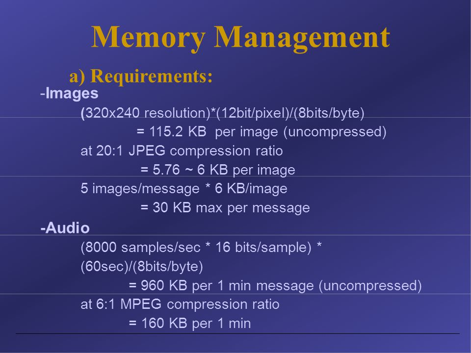 Memory Management -Images (320x240 resolution)*(12bit/pixel)/(8bits/byte) = 115.2 KB per image (uncompressed) at 20:1 JPEG compression ratio = 5.76 ~ 6 KB per image 5 images/message * 6 KB/image = 30 KB max per message -Audio (8000 samples/sec * 16 bits/sample) * (60sec)/(8bits/byte) = 960 KB per 1 min message (uncompressed) at 6:1 MPEG compression ratio = 160 KB per 1 min a) Requirements: