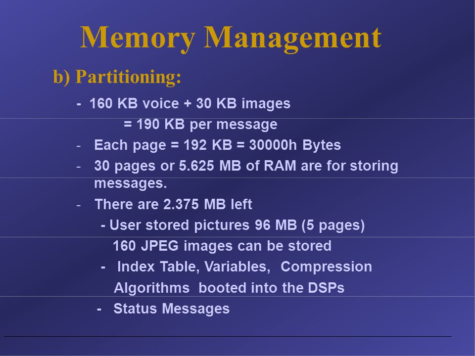 - 160 KB voice + 30 KB images = 190 KB per message -Each page = 192 KB = 30000h Bytes -30 pages or 5.625 MB of RAM are for storing messages.