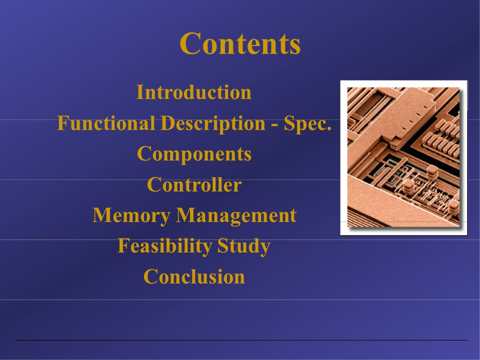 Contents Introduction Functional Description - Spec.