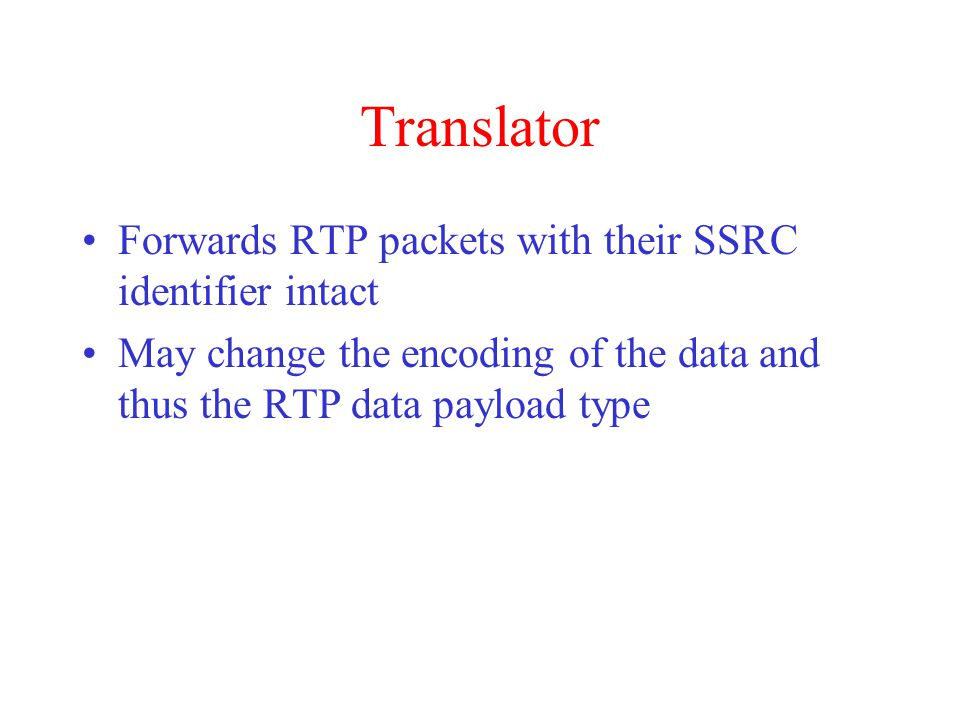 RTP Header Sequence number Payload type Timestamp SSRC identifier
