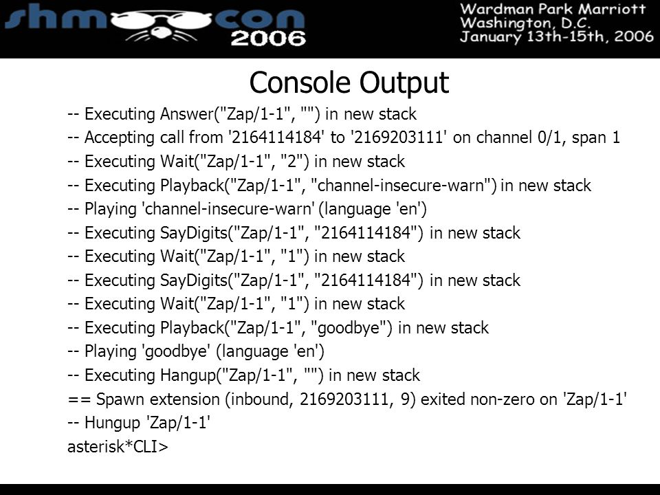 November 3-5, 2004 Santa Clara Convention Center Console Output -- Executing Answer(