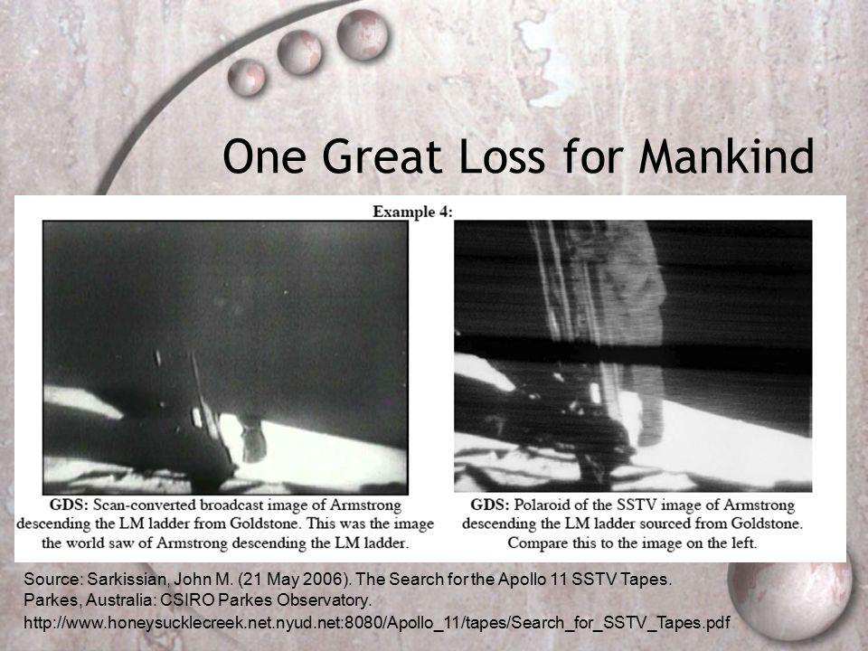 Source: Sarkissian, John M. (21 May 2006). The Search for the Apollo 11 SSTV Tapes.