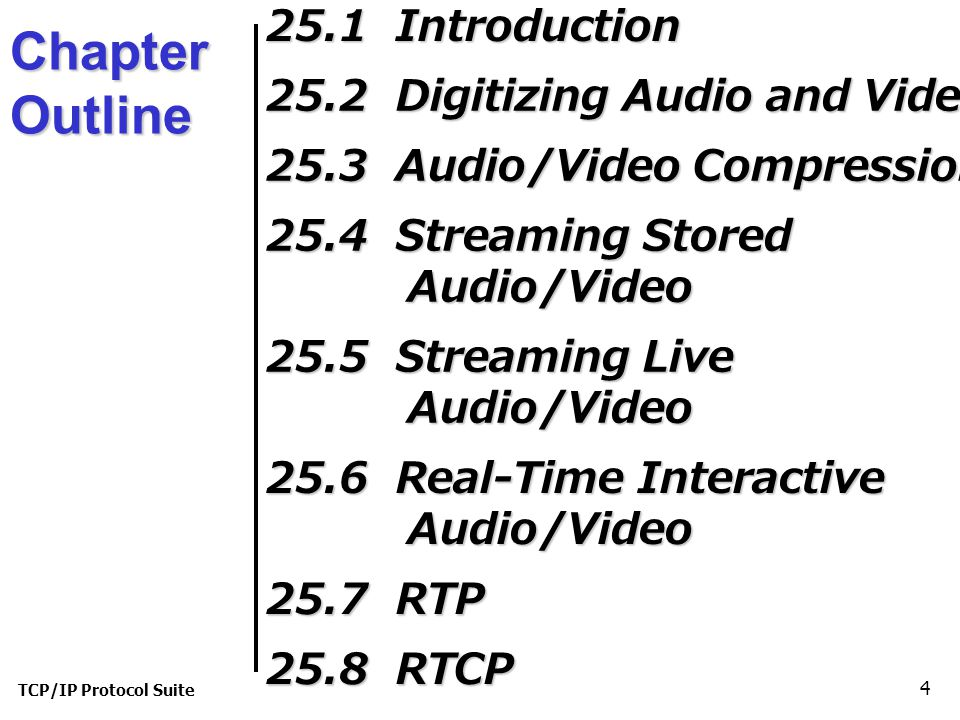 TCP/IP Protocol Suite 4 Chapter Outline 25.1 Introduction 25.2 Digitizing Audio and Video 25.3 Audio/Video Compression 25.4 Streaming Stored Audio/Video 25.5 Streaming Live Audio/Video 25.6 Real-Time Interactive Audio/Video 25.7 RTP 25.8 RTCP