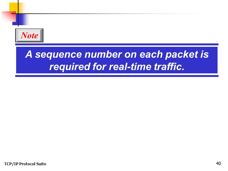 TCP/IP Protocol Suite 40 A sequence number on each packet is required for real-time traffic. Note
