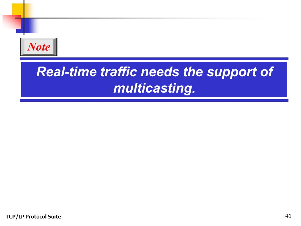 TCP/IP Protocol Suite 41 Real-time traffic needs the support of multicasting. Note