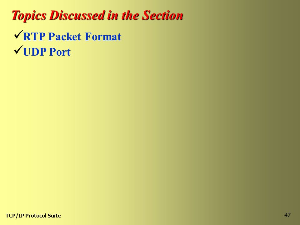TCP/IP Protocol Suite 47 Topics Discussed in the Section RTP Packet Format UDP Port