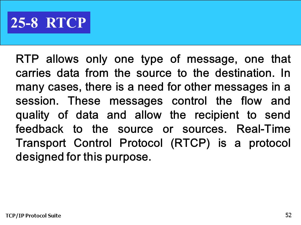 TCP/IP Protocol Suite 52 25-8 RTCP RTP allows only one type of message, one that carries data from the source to the destination.