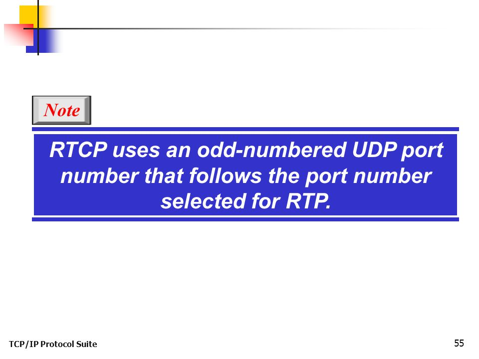 TCP/IP Protocol Suite 55 RTCP uses an odd-numbered UDP port number that follows the port number selected for RTP.