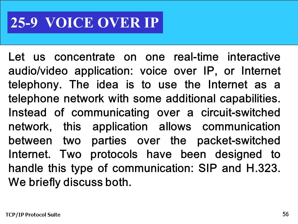TCP/IP Protocol Suite 56 25-9 VOICE OVER IP Let us concentrate on one real-time interactive audio/video application: voice over IP, or Internet telephony.