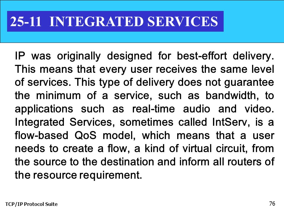 TCP/IP Protocol Suite 76 25-11 INTEGRATED SERVICES IP was originally designed for best-effort delivery.
