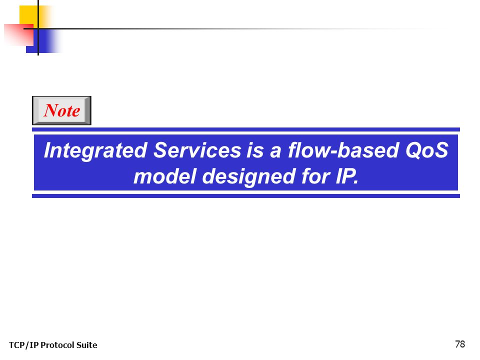 TCP/IP Protocol Suite 78 Integrated Services is a flow-based QoS model designed for IP. Note