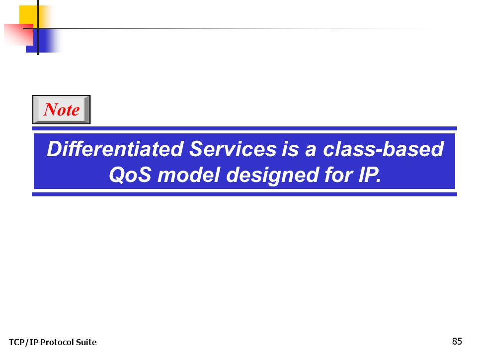 TCP/IP Protocol Suite 85 Differentiated Services is a class-based QoS model designed for IP. Note