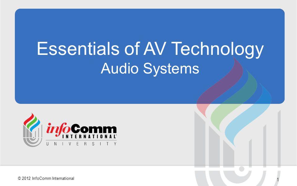 42 © 2012 InfoComm International Audio Signal Levels DescriptionVoltage Level Mic Level0.001 volts Line Level (Professional)1 volt Line Level (consumer)0.316 volts Loudspeaker Level2 < 100 volts Microphone preamplifier boosts a mic level signal.