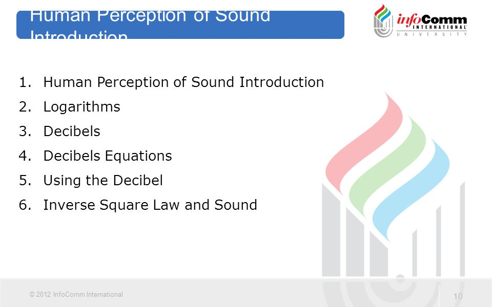 10 © 2012 InfoComm International Human Perception of Sound Introduction 1.Human Perception of Sound Introduction 2.Logarithms 3.Decibels 4.Decibels Eq