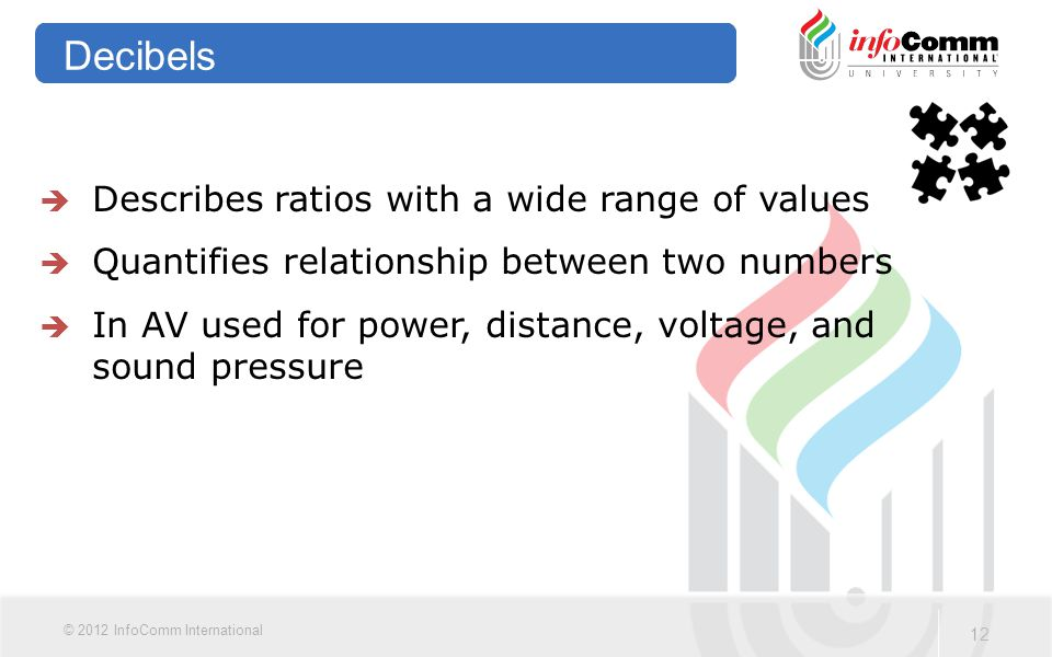 12 © 2012 InfoComm International Decibels  Describes ratios with a wide range of values  Quantifies relationship between two numbers  In AV used fo