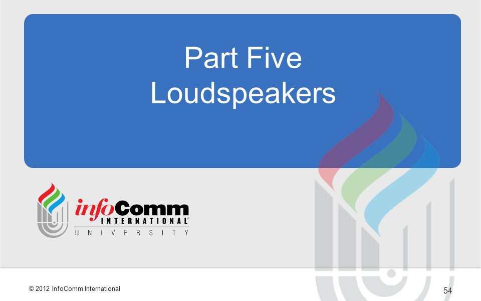 54 © 2012 InfoComm International Part Five Loudspeakers