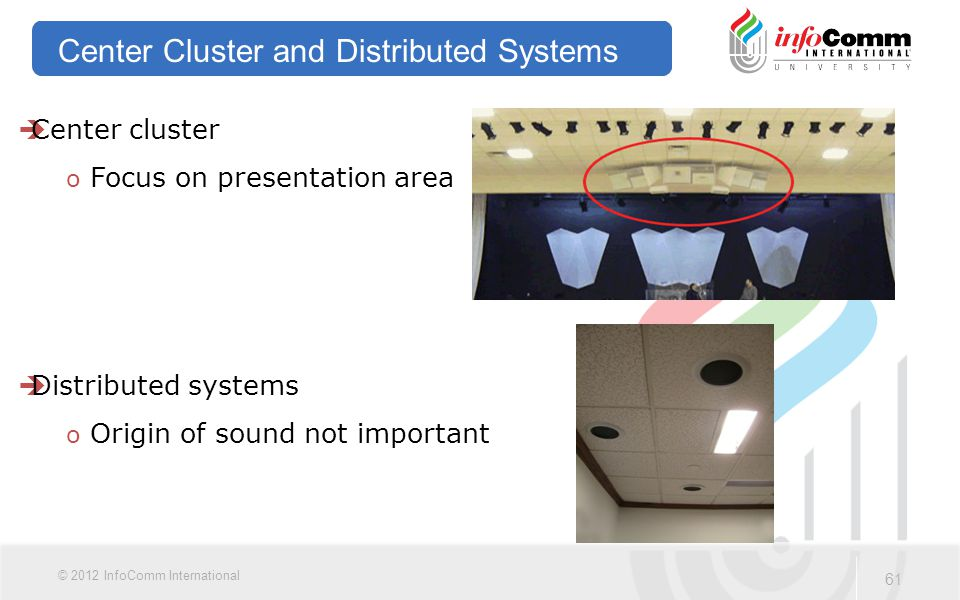 61 © 2012 InfoComm International Center Cluster and Distributed Systems  Center cluster oFocus on presentation area  Distributed systems oOrigin of