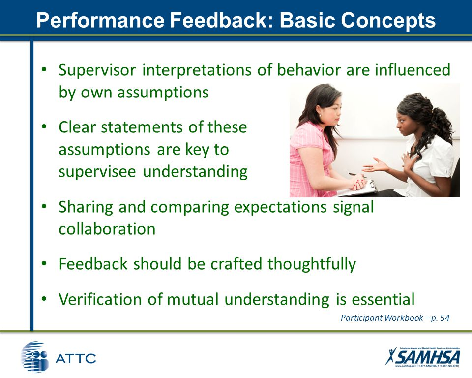 Performance Feedback: Basic Concepts Supervisor interpretations of behavior are influenced by own assumptions Clear statements of these assumptions are key to supervisee understanding Sharing and comparing expectations signal collaboration Feedback should be crafted thoughtfully Verification of mutual understanding is essential Participant Workbook – p.