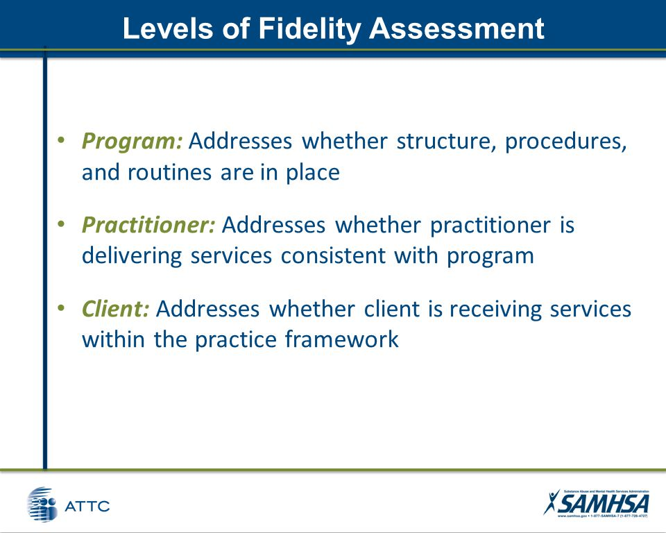 Levels of Fidelity Assessment Program: Addresses whether structure, procedures, and routines are in place Practitioner: Addresses whether practitioner is delivering services consistent with program Client: Addresses whether client is receiving services within the practice framework