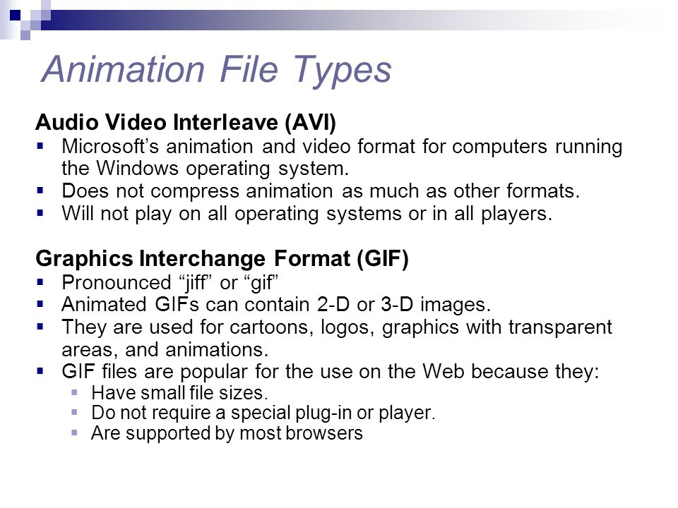 Animation File Types Audio Video Interleave (AVI)  Microsoft's animation and video format for computers running the Windows operating system.  Does