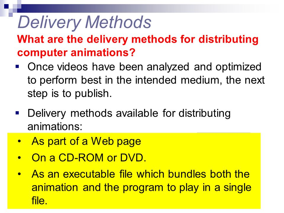 Delivery Methods What are the delivery methods for distributing computer animations?  Once videos have been analyzed and optimized to perform best in