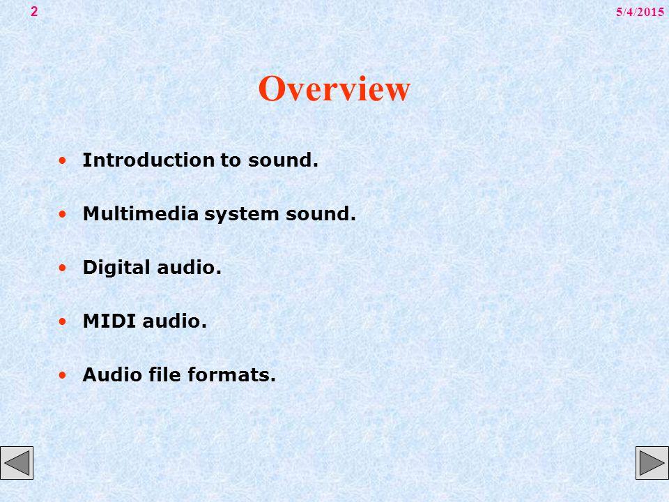 5/4/20153 Overview MIDI versus digital audio.Adding sound to multimedia project.