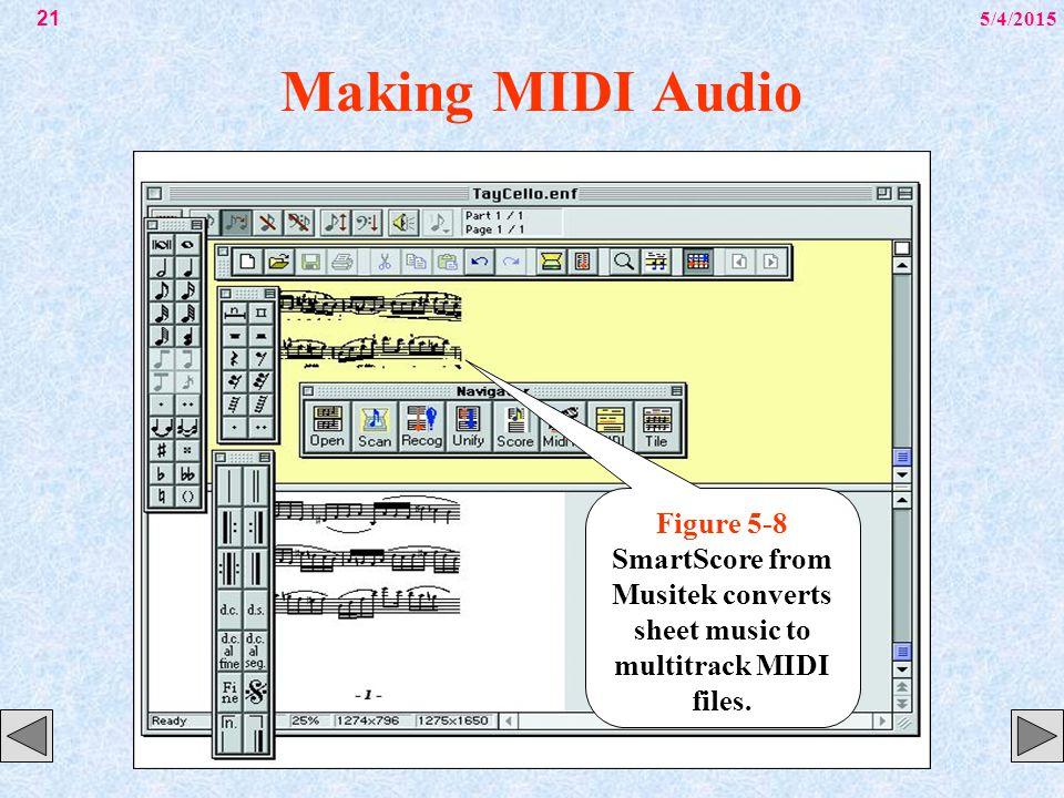 5/4/201521 Making MIDI Audio Figure 5-8 SmartScore from Musitek converts sheet music to multitrack MIDI files.