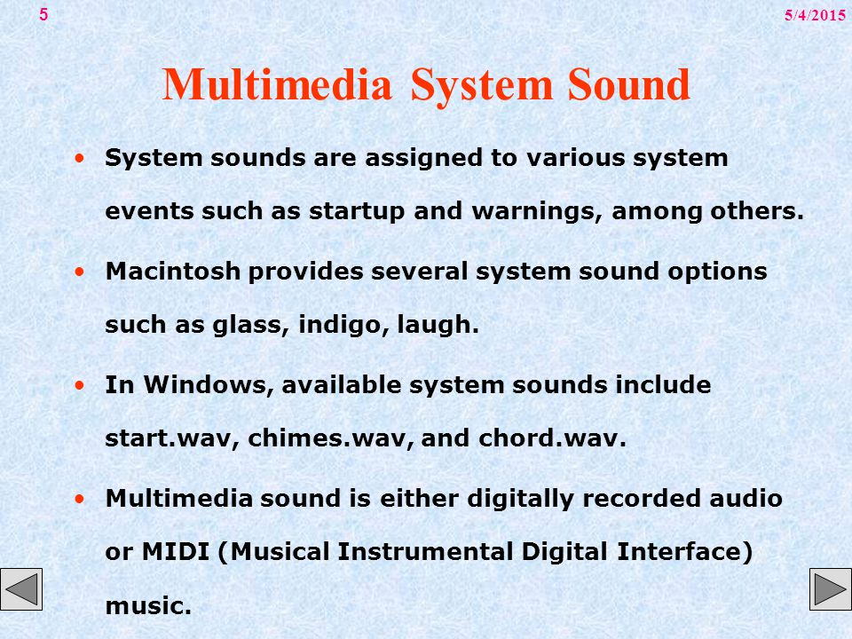 5/4/201516 Digital Audio Additional available sound editing operations include format conversion, resampling or downsampling, fade-ins and fade-outs, equalization, time stretching, digital signal processing, and reversing sounds.