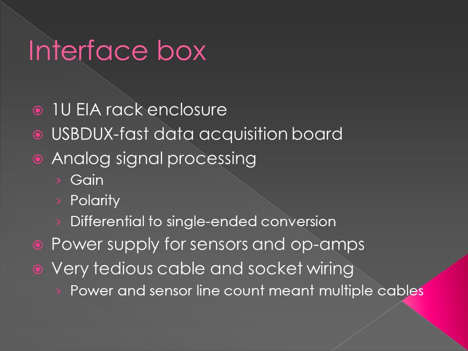 Interface box  1U EIA rack enclosure  USBDUX-fast data acquisition board  Analog signal processing › Gain › Polarity › Differential to single-ended conversion  Power supply for sensors and op-amps  Very tedious cable and socket wiring › Power and sensor line count meant multiple cables