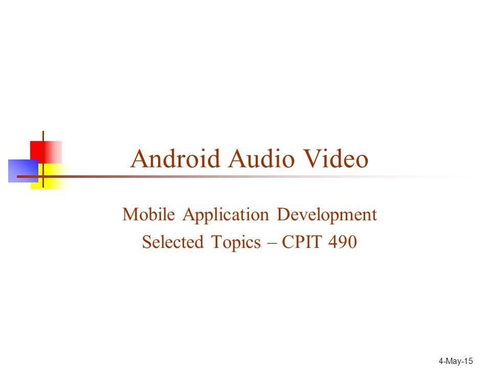 22 Configure Audio/Video Recording MediaRecorder mediaRecorder = new MediaRecorder(); // Configure the input sources mediaRecorder.setAudioSource(MediaRecorder.AudioSource.MIC); mediaRecorder.setVideoSource(MediaRecorder.VideoSource.CAMERA); // Set the output format mediaRecorder.setOutputFormat(MediaRecorder.OutputFormat.DEFAULT); // Specify the audio and video encoding mediaRecorder.setAudioEncoder(MediaRecorder.AudioEncoder.DEFAULT); mediaRecorder.setVideoEncoder(MediaRecorder.VideoEncoder.DEFAULT); // Specify the output file mediaRecorder.setOutputFile( /sdcard/myoutputfile.mp4 ); // Prepare to record mediaRecorder.prepare(); [ ] mediaRecorder.start(); [ ] mediaRecorder.stop(); mediaRecorder.release();