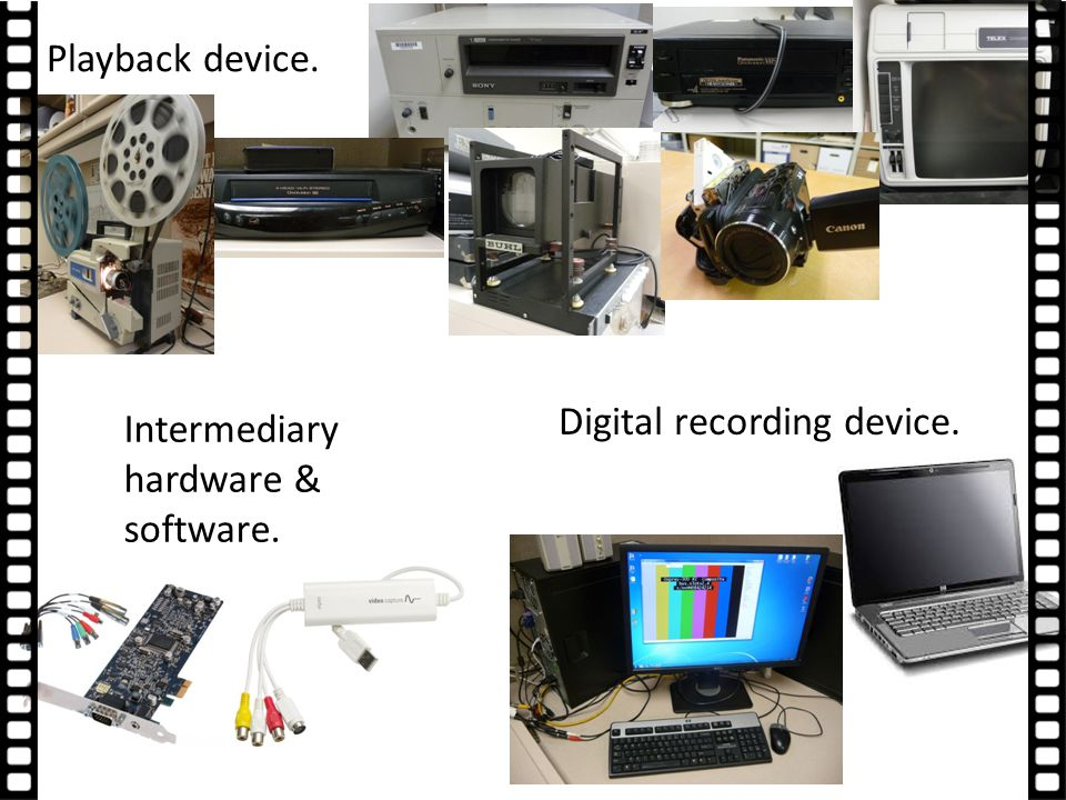 Digital recording device. Playback device. Intermediary hardware & software.