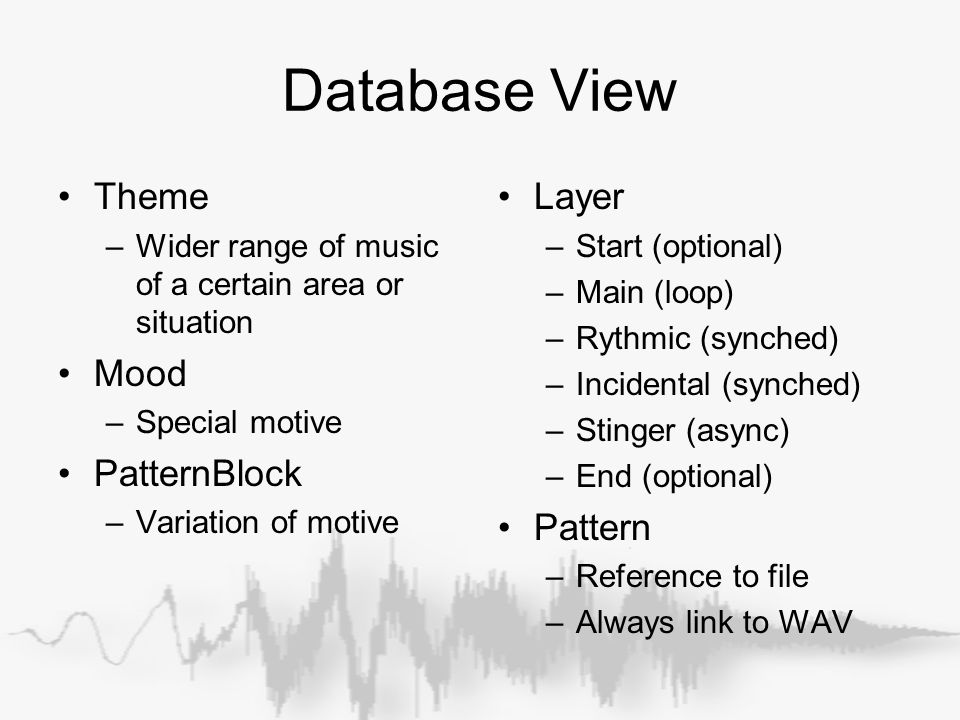 Database View Theme –Wider range of music of a certain area or situation Mood –Special motive PatternBlock –Variation of motive Layer –Start (optional) –Main (loop) –Rythmic (synched) –Incidental (synched) –Stinger (async) –End (optional) Pattern –Reference to file –Always link to WAV