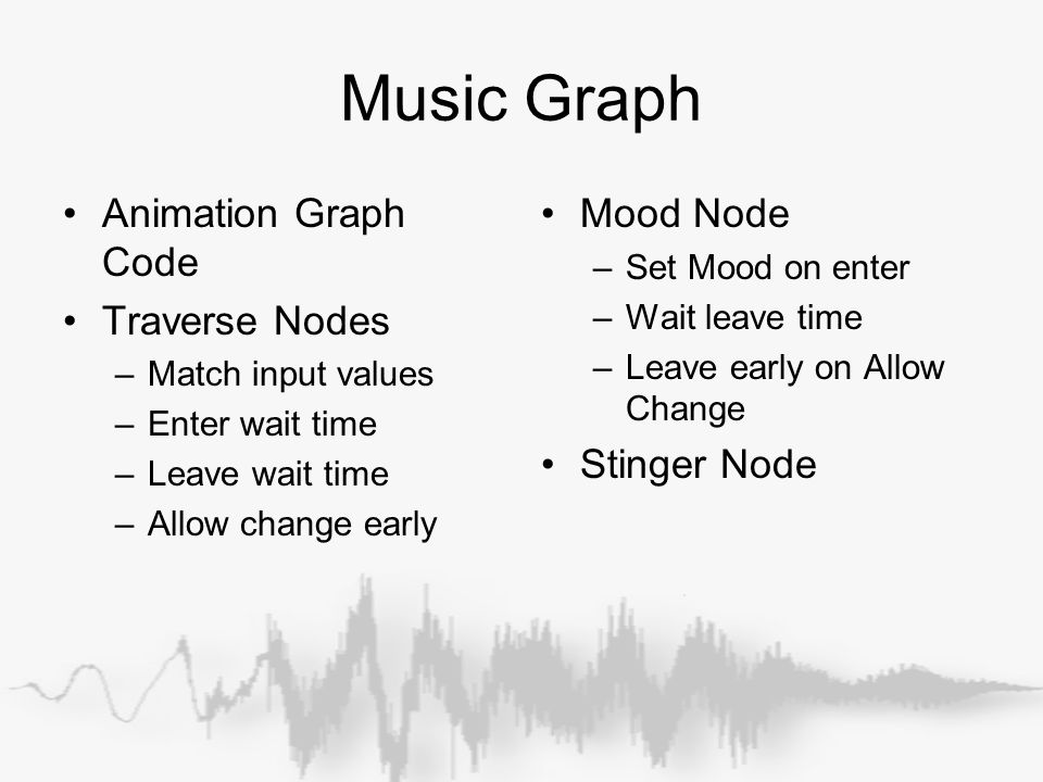 Music Graph Animation Graph Code Traverse Nodes –Match input values –Enter wait time –Leave wait time –Allow change early Mood Node –Set Mood on enter –Wait leave time –Leave early on Allow Change Stinger Node