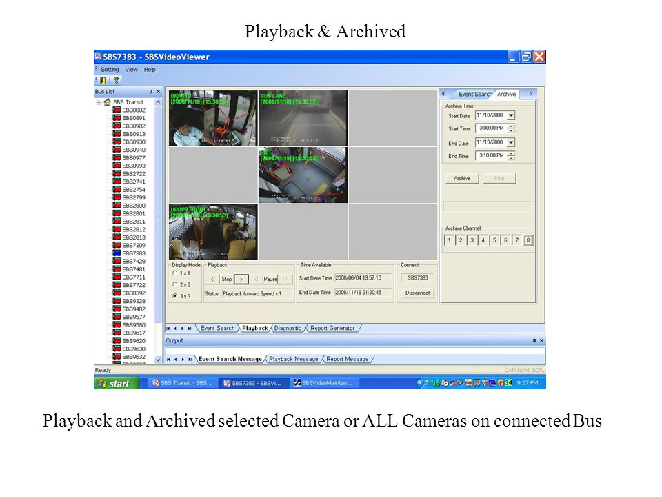 Playback & Archived Playback and Archived selected Camera or ALL Cameras on connected Bus
