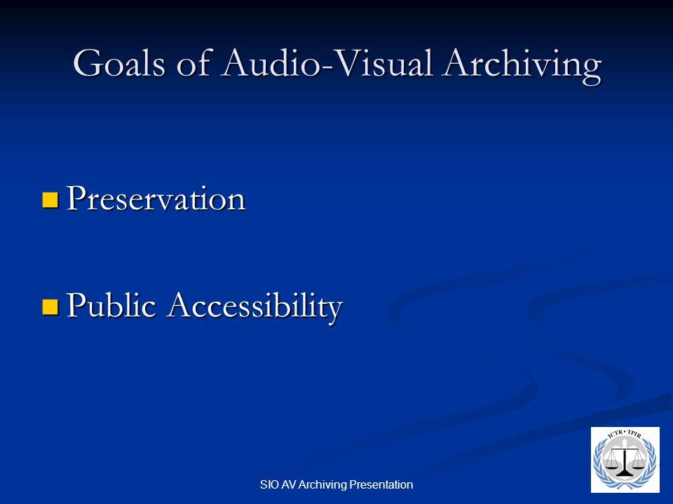 SIO AV Archiving Presentation Goals of Audio-Visual Archiving Preservation Preservation Public Accessibility Public Accessibility