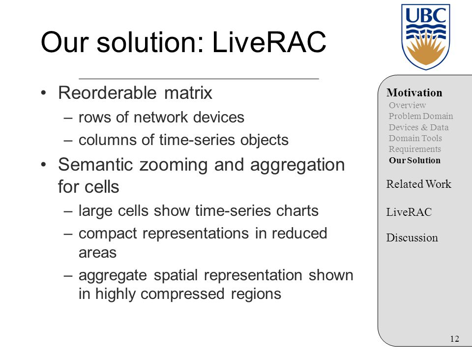 12 Our solution: LiveRAC Reorderable matrix –rows of network devices –columns of time-series objects Semantic zooming and aggregation for cells –large