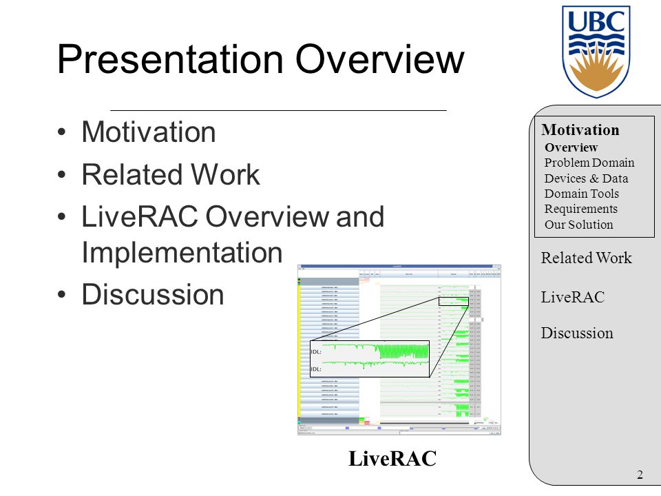 2 Presentation Overview Motivation Related Work LiveRAC Overview and Implementation Discussion LiveRAC Motivation Overview Problem Domain Devices & Da