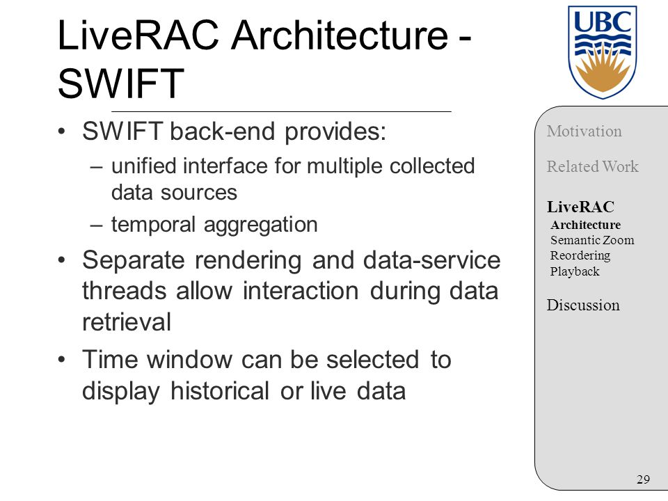 29 LiveRAC Architecture - SWIFT SWIFT back-end provides: –unified interface for multiple collected data sources –temporal aggregation Separate rendering and data-service threads allow interaction during data retrieval Time window can be selected to display historical or live data Motivation Related Work LiveRAC Architecture Semantic Zoom Reordering Playback Discussion