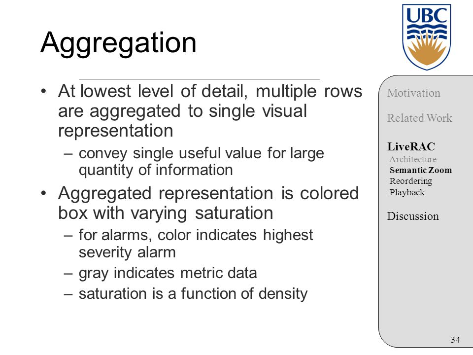 34 Aggregation At lowest level of detail, multiple rows are aggregated to single visual representation –convey single useful value for large quantity of information Aggregated representation is colored box with varying saturation –for alarms, color indicates highest severity alarm –gray indicates metric data –saturation is a function of density Motivation Related Work LiveRAC Architecture Semantic Zoom Reordering Playback Discussion