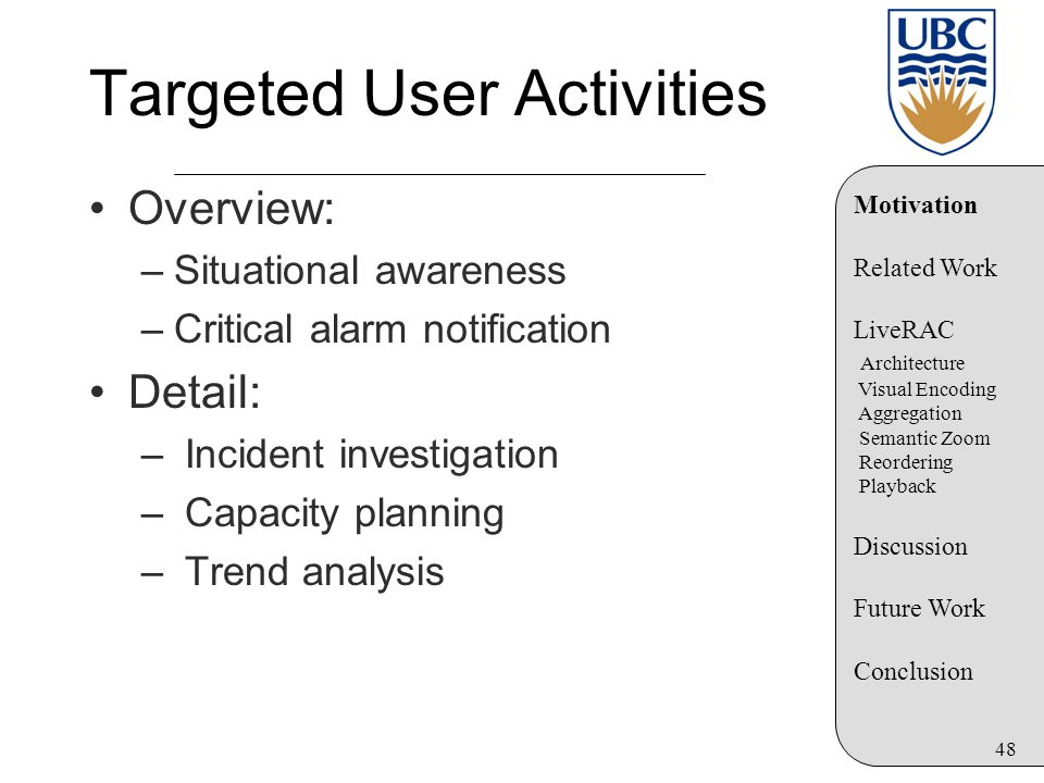 48 Targeted User Activities Overview: –Situational awareness –Critical alarm notification Detail: – Incident investigation – Capacity planning – Trend analysis Motivation Related Work LiveRAC Architecture Visual Encoding Aggregation Semantic Zoom Reordering Playback Discussion Future Work Conclusion