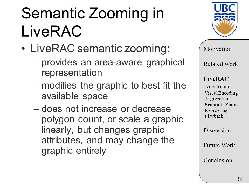 50 Semantic Zooming in LiveRAC LiveRAC semantic zooming: –provides an area-aware graphical representation –modifies the graphic to best fit the available space –does not increase or decrease polygon count, or scale a graphic linearly, but changes graphic attributes, and may change the graphic entirely Motivation Related Work LiveRAC Architecture Visual Encoding Aggregation Semantic Zoom Reordering Playback Discussion Future Work Conclusion