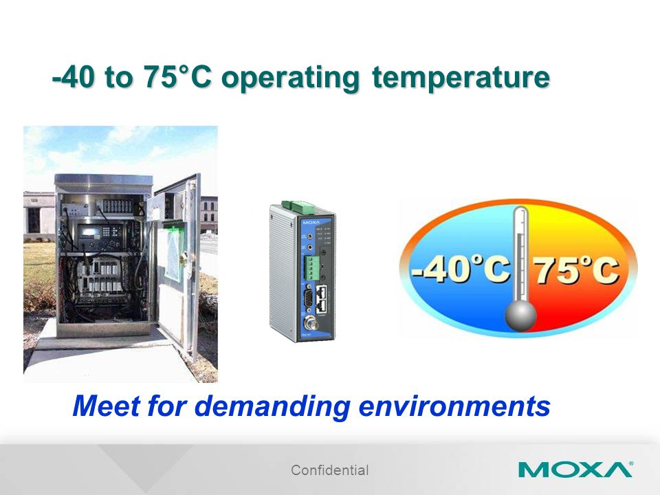Confidential -40 to 75°C operating temperature Meet for demanding environments