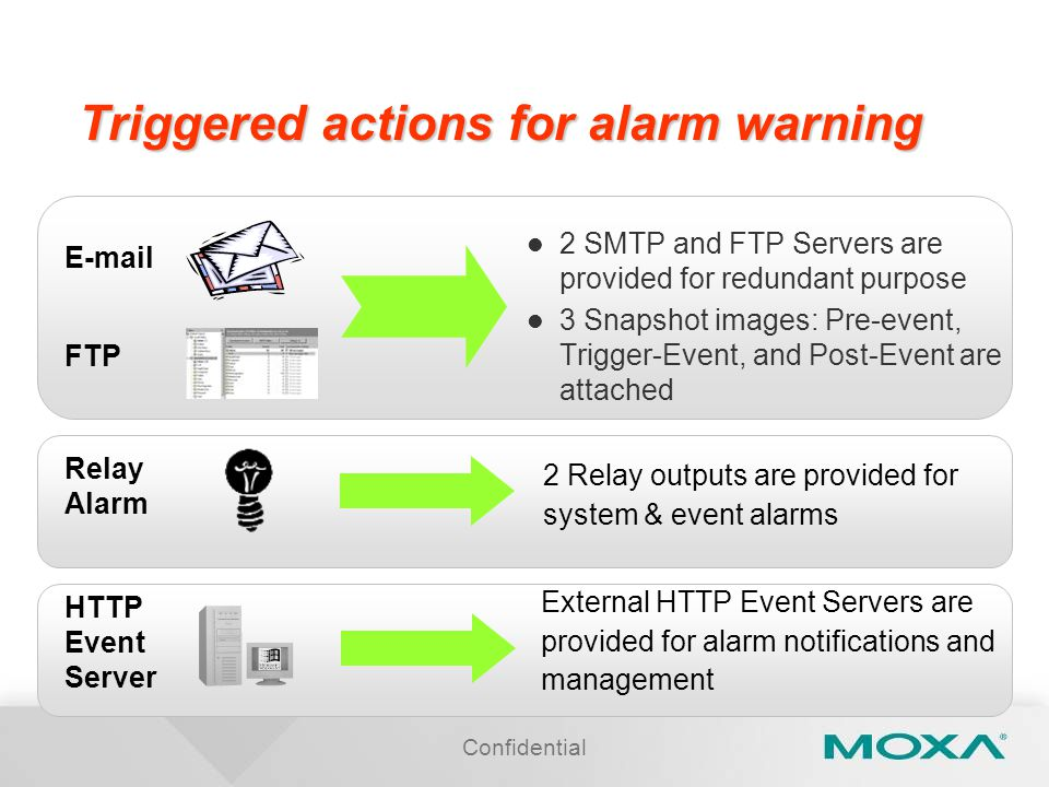 Confidential Triggered actions for alarm warning E-mail Relay Alarm FTP 2 SMTP and FTP Servers are provided for redundant purpose 3 Snapshot images: Pre-event, Trigger-Event, and Post-Event are attached 2 Relay outputs are provided for system & event alarms HTTP Event Server External HTTP Event Servers are provided for alarm notifications and management