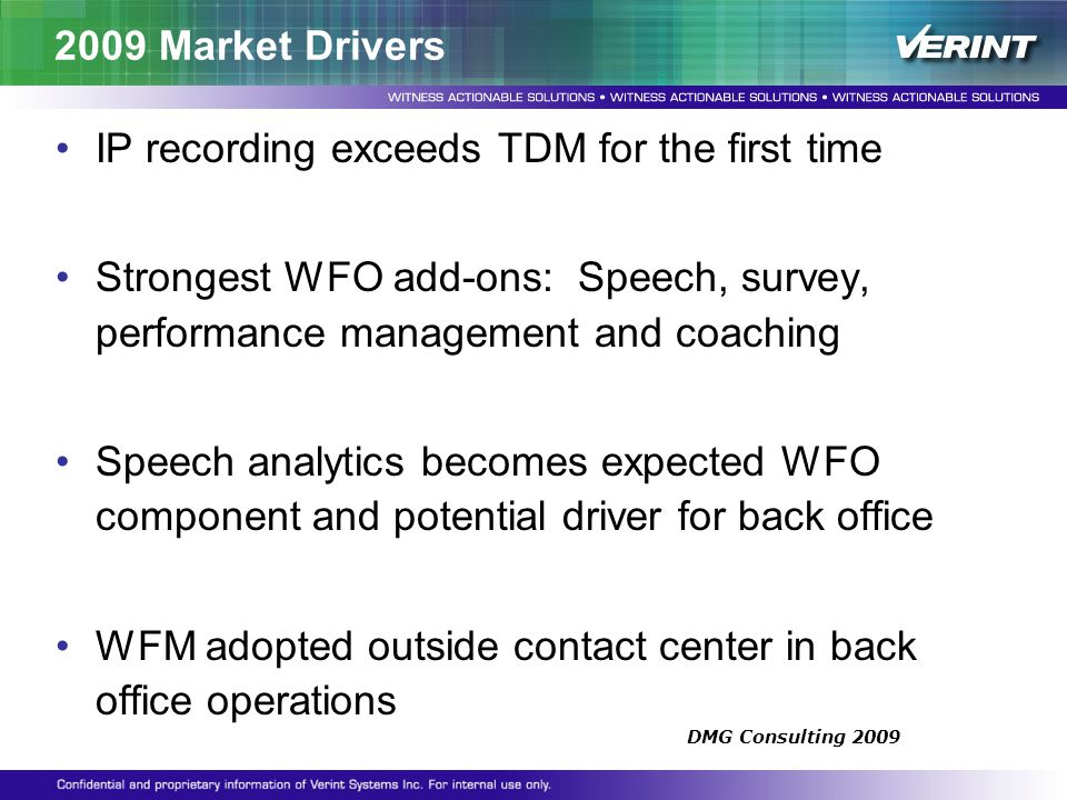 2009 Market Drivers IP recording exceeds TDM for the first time Strongest WFO add-ons: Speech, survey, performance management and coaching Speech anal
