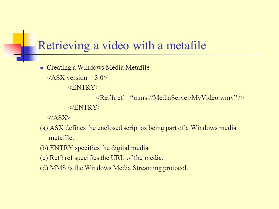 Retrieving a video with a metafile Creating a Windows Media Metafile (a) ASX defines the enclosed script as being part of a Windows media metafile.