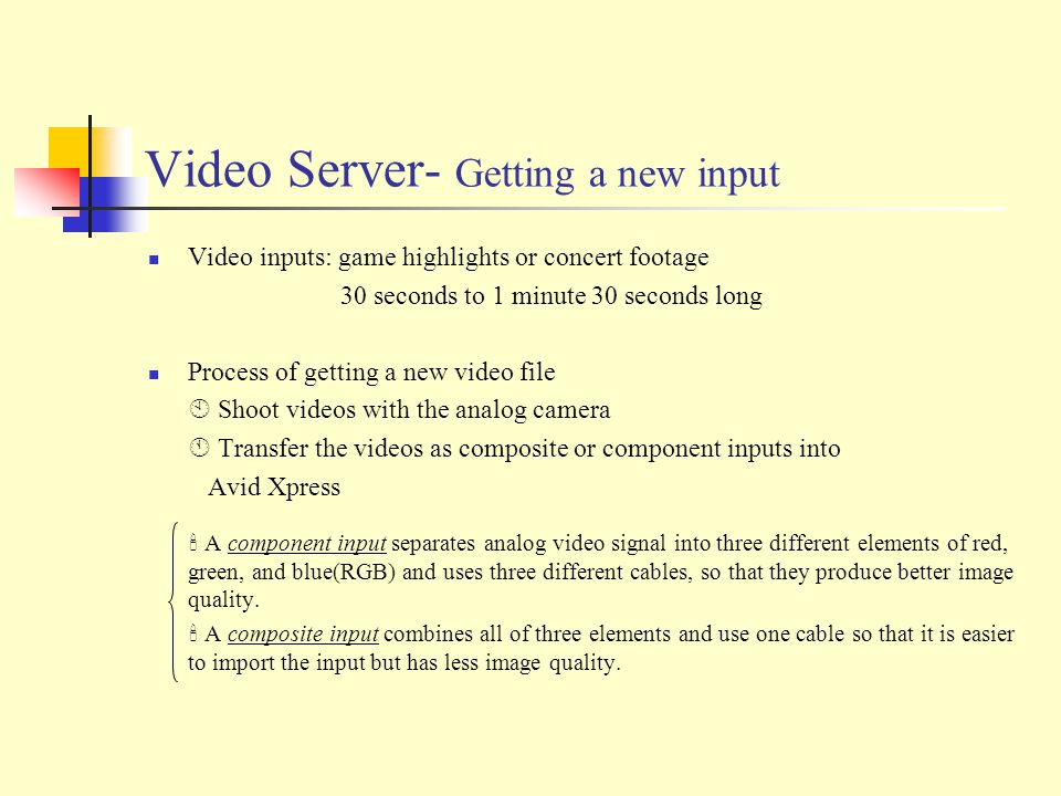 Video Server- Getting a new input Video inputs: game highlights or concert footage 30 seconds to 1 minute 30 seconds long Process of getting a new video file  Shoot videos with the analog camera  Transfer the videos as composite or component inputs into Avid Xpress  A component input separates analog video signal into three different elements of red, green, and blue(RGB) and uses three different cables, so that they produce better image quality.