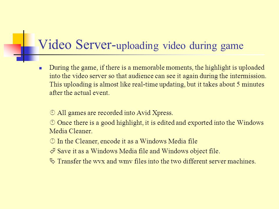 Video Server- uploading video during game During the game, if there is a memorable moments, the highlight is uploaded into the video server so that audience can see it again during the intermission.
