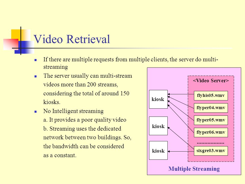 Video Retrieval If there are multiple requests from multiple clients, the server do multi- streaming The server usually can multi-stream videos more than 200 streams, considering the total of around 150 kiosks.